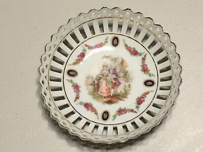 Vintage Germany Plate Dish Laced with Gold Trim