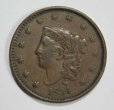 1834 Lg 8 Sm Stars Med Letters Liberty Matron Head Large Cent Penny P1R XX031