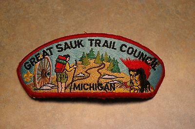 "Vintage Boy Scout Bsa 'great Sauk Trail Council Michigan' 5.25"" Patch"