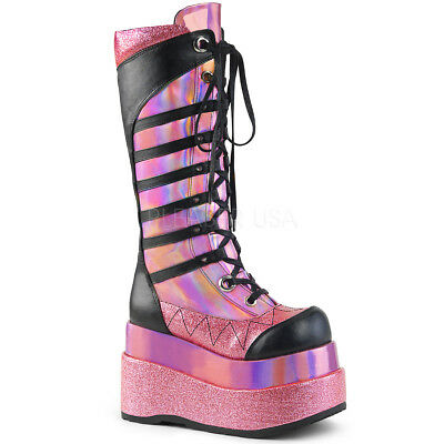 DEMONIA Womens Pink Hologram Tiered Platform Lace-Up Gogo Dancer Knee High Boots