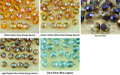 20pcs Crystal Luster Half Round Faceted Fire Polished Spacer Czech Glass Beads 8