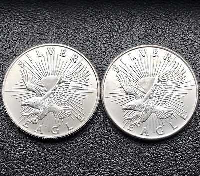 Lot of 2 Sunshine Minting Silver Eagle 1 Troy oz .999 Silver Round Coin (7194)