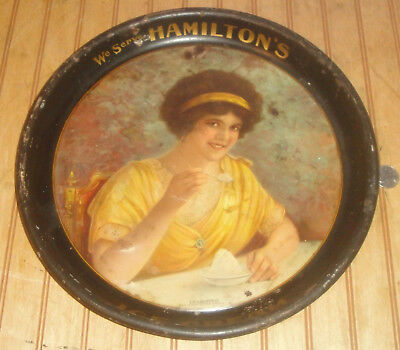 "Vintage 1913 HAMILTON'S ICE CREAM Metal Advertising Serving Tray ""Delighted"" Art"