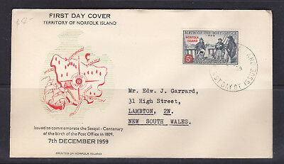Fdc: Norfolk Island  Birth Of The  Post Office   1959.