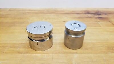 Lot of 2 Vintage Calibration Scale Weights 3Lb & 2Lb