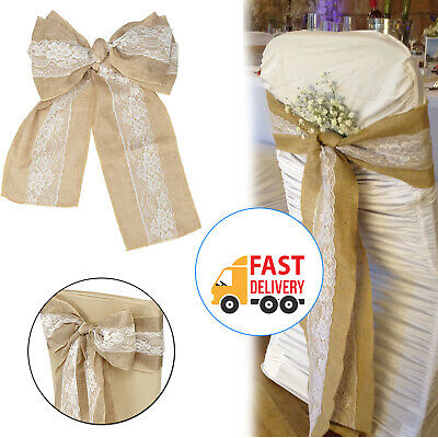 Admirable Rustic Vintage Hessian Sashes Chair Cover Bows Natural Ncnpc Chair Design For Home Ncnpcorg