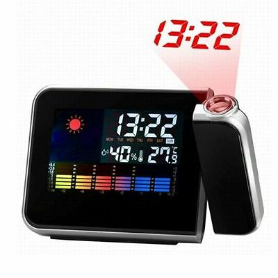 Projection LCD Digital Snooze Time Alarm Clock Projector Weather Station LED BT