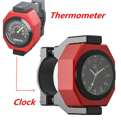 1x Aluminum Motorcycle Handlebar Watch Analogue Clock Temperature Meter Luminous