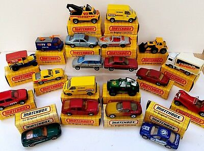 20 x 1980's mint yellow boxed Matchbox die-cast cars and trucks