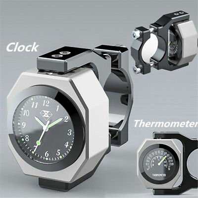 Silver Motorcycle Handlebar Mount Watch Pointer Clock Thermometer Temp Luminous