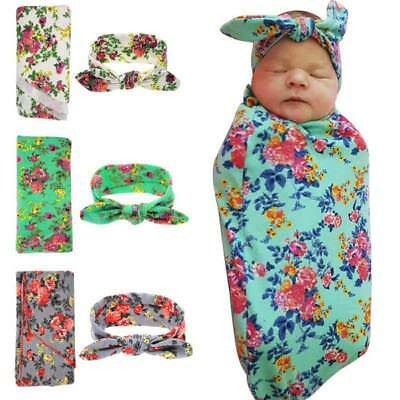 Muslin Newborn Infant Floral Swaddle Blanket+Headband Wrap Baby Bath Towel Set