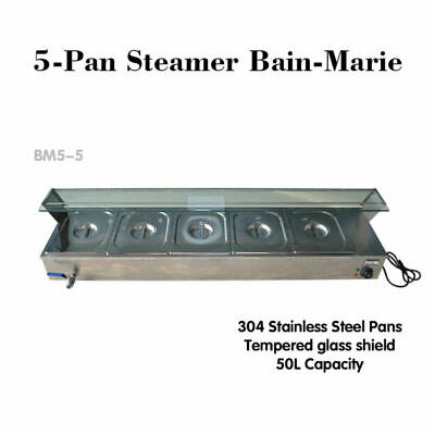 TOP 5-Pan Steamer Bain-Marie Buffet Countertop Food Warmer Gastronorm Catering