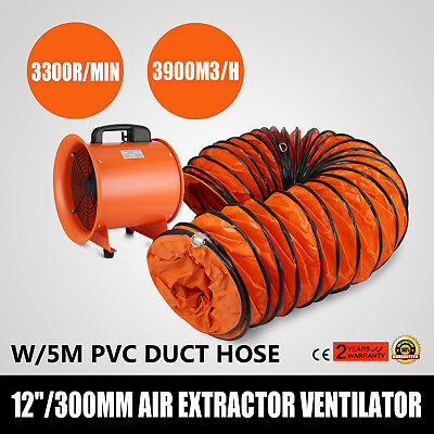 "220V 12"" 300Mm Cyclone Dust Fume Extractor / Ventilation Fan + 5M Pvc Ducting"
