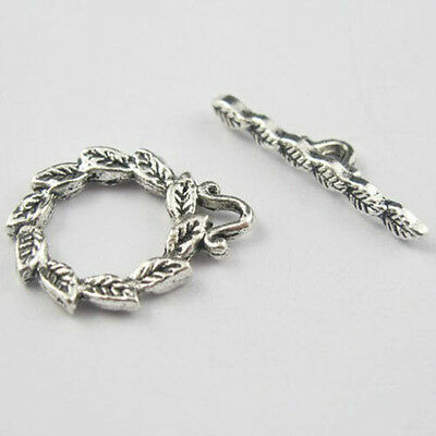 50sets Round Leaf Connectors Tibetan Silver Toggle Clasps 15x19mm 8807