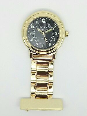 nurse beauticians doctor fob watch gold tone black dial F136