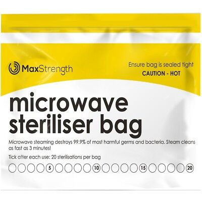 Microwave Steriliser Bags Premium 20pc Pack by Max Strength, Large & Durable