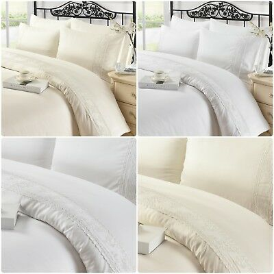 White Lace High Quality Duvet Quilt Cover with Pillow Case Bedding Set All Sizes