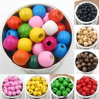 300pcs DIY Round Wood Ball Spacer Loose Beads 8mm For Necklace Bracelet Makings
