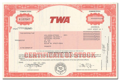 Trans World Airlines, Inc. Stock Certificate (TWA)