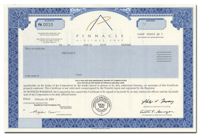 Pinnacle Airlines Corp. Stock Certificate (Became Part of Delta)