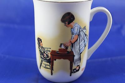 Vintage Norman Rockwell Coffee Mug Party Time 1981 Little Girl Doll HMI Ceramic