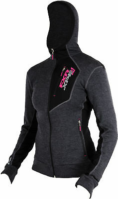 FXR Womens Charcoal Snowmobile Terrain 50% Merino Blend Full Zip Hoodie Base