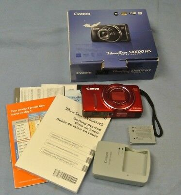 Canon Red Powershot Sx600 Hs In Original Box ( 52876-1 H )*