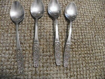 4 Customcraft  Cus 10  Stainless  Teaspoons  Roses   6  Inch Custom Craft