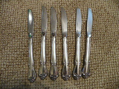 6  Oneida  Rogers 1881   Arbor Rose True Rose Dinner / Butter Knives Stainless