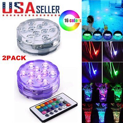 2Pack 16 Color Wireless Waterproof Pool LED Submersible Light RGB Remote Control