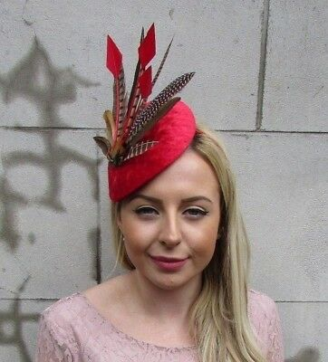 Large Red Brown Velvet Pheasant Feather Hat Fascinator Headband Races Hair 5464