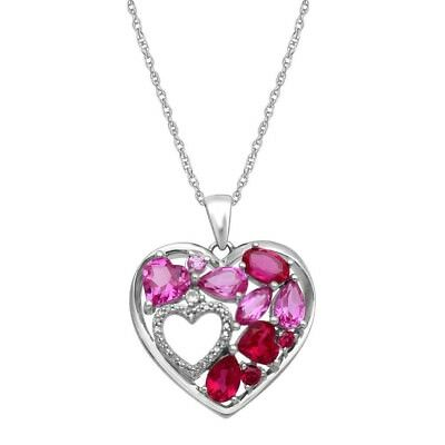925 sterling silver multi gemstone and diamond accent heart pendant 925 sterling silver multi gemstone and diamond accent heart pendant necklace 18 aloadofball Image collections