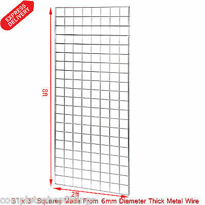 1 x 8FT GRIDWALL/ GRID WALL MESH CHROME DISPLAY PANEL (Size: 8ft x 2ft)