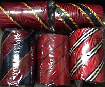 #12 Lot Of 5 Authentic Men's Neckties Rare Brooks Brothers USA Made Striped Tie
