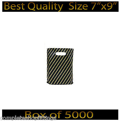 7''X9'' Black and Gold Striped Jewellery Fashion Gift Shop Plastic Carrier Bags