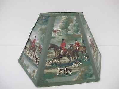 Vintage Lampshade Fabric Covered Horses Fox Hounds Hunting Reds Greens Hexagon