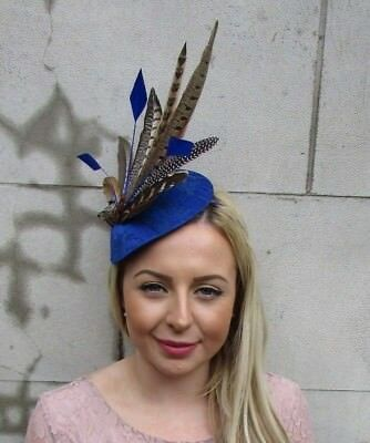 Large Royal Blue Brown Pheasant Feather Hat Fascinator Headband Races Ascot 5472