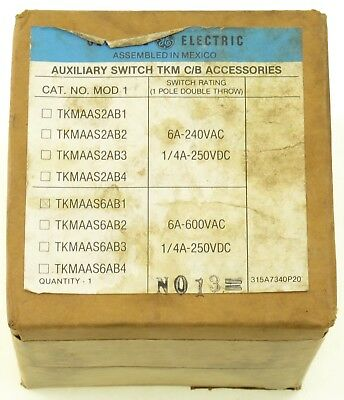 GE TKMAAS6AB1 Auxiliary Switch TKM C/B Accessories 6A 600VAC 1/4A 250VDC