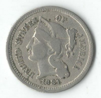 1881 United States Nickel 3 Cent - Nice Type Coin
