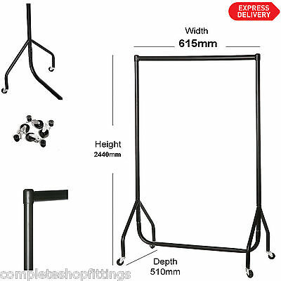 SUPER HEAVY DUTY CLOTHES RAIL 2ft WIDE x 8ft High Metal Garment Hanging Rack NEW