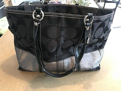 Coach Diaper Bag - Black and Silver
