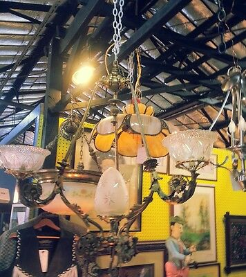 large ornate bronze chandelier  - 1800s