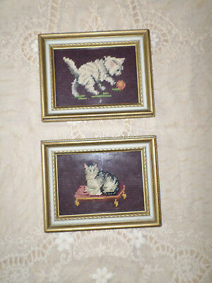 """Vintage Pair Of Picture Frames W/ Needlepoint Cats 9"""" X 7"""""""