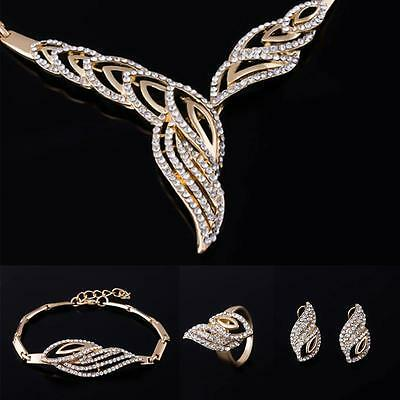 Prom Wedding Party Bridal Jewelry Diamante Crystal Necklace + Earrings Set FT