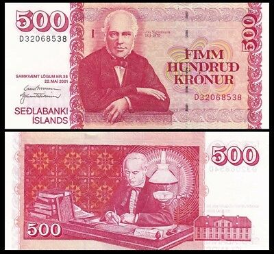 ICELAND 500 Kronur, 2001, P-58b, UNC World Currency