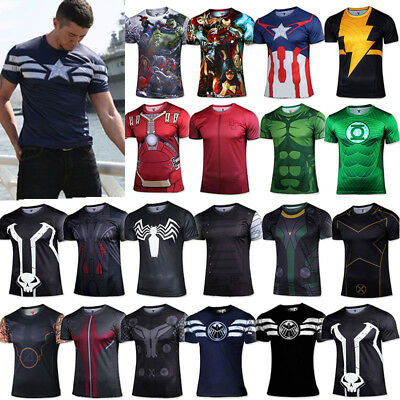 Mens Short Sleeve T-shirt Superhero Avenger Compression Sport Cycling Tops Tee