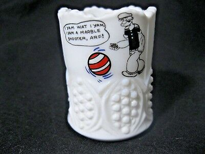 """White milkglass Toothpick Holder; Popeye with Marble; 2"""""""