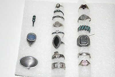 Lot of 17 Vintage .925 Sterling Silver Band & Stone Set Rings  46g
