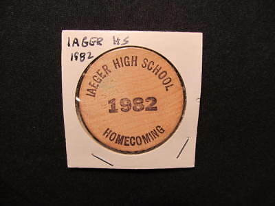 1982 Iaeger, West Virginia Wooden Nickel Token -Iaeger H.S. Homecoming Wood Coin