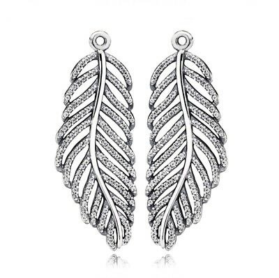 Pandora Feather Earrings Pendant And Hooks/Studs S925 ALE 290680CZ With Pouch